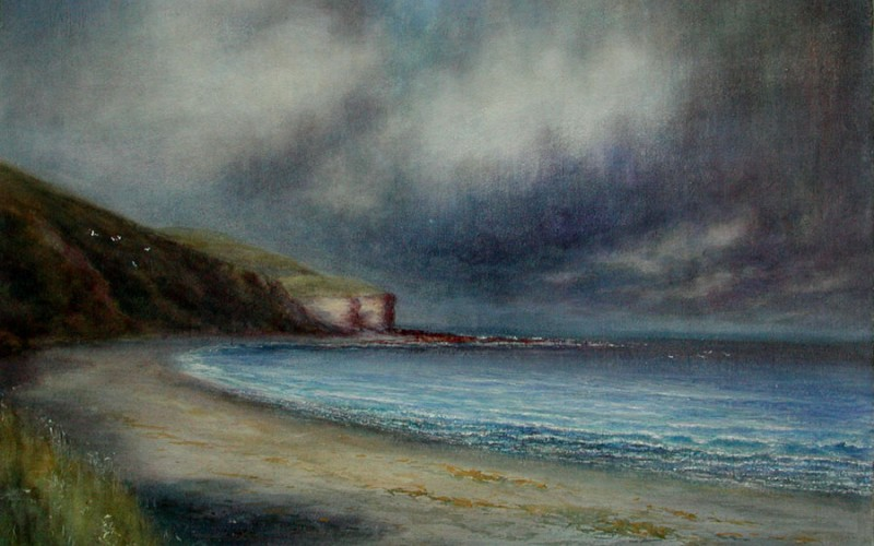 Image: 'The Stormcloud - Bushey Beach', Amos Glass, collection of the Forrester Gallery FG1992.5.1