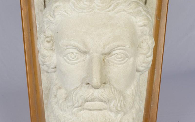 Carved Oamaru stone keystone , NOM 98/541