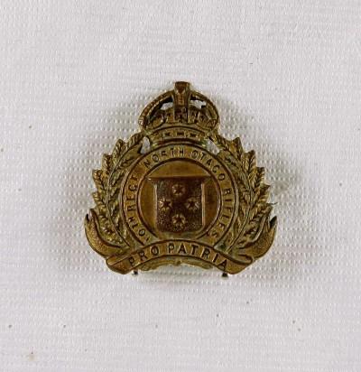 10th Regiment North Otago Rifles Cap badge North Otago Museum 79/726