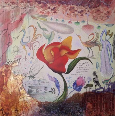 Image: Celebration, Yvonne Gillespie, 2021, ink, acrylic, pencil, carbon, gold leaf/dust