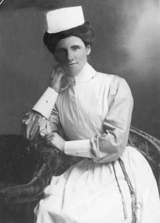Photo of Nurse Isabel Clark in her nursing uniform World War One. Nurse Clark drowned when the Marquette sank