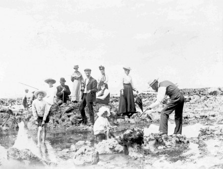 Image: Fishing in Rock Pools, Cape Wanbrow, 1904, Waitaki District Archive, 767P.