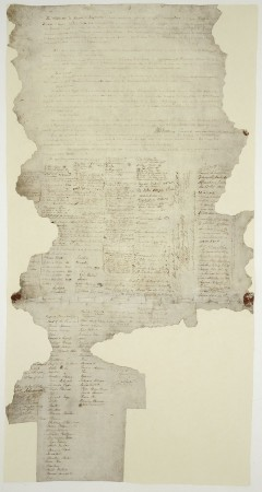 The Waitangi Sheet of the Treaty of Waitangi, signed between the British Crown and various Māori chiefs in 1840.