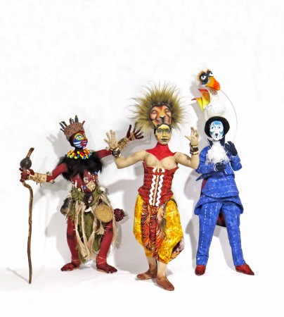 Image: Sharon Mitchell, from left to right, Rafiki , Simba , Zazu, 2018, mixed media.