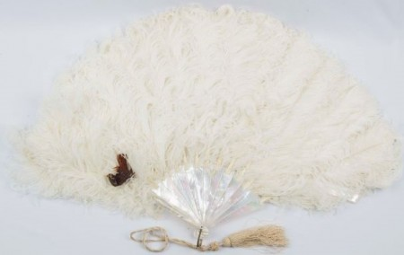Ostrich Feather fan with hummingbird, North Otago Museum 79/924