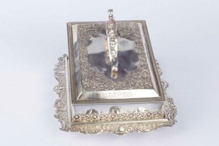 Silver plated cheese keep, North Otago Museum 79/1654