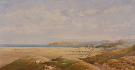 Image: George O'Brien (1821 – 1888), Oamaru from Pukeuri Hill, 1872, watercolour on paper, FG1985.11.1