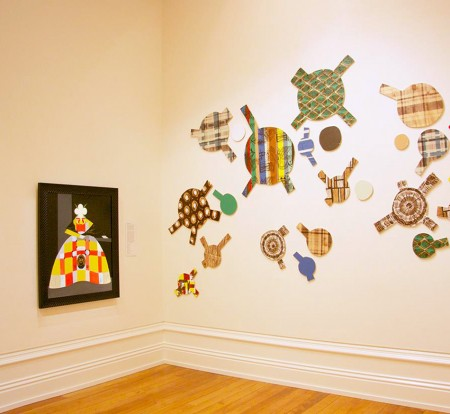 Installation of Tonga 'i Onopooni: Tonga Contemporary at the Forrester Gallery, works shown: Julian Hooper Queen, 2008 and Dagmar Dyck Which side are you on?, 2014.