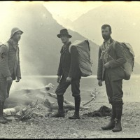 Exploration party at Iceberg Lake. William George Grave third from left. Collection of the Waitaki District Archive. Id 169161