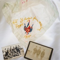 Photos of Stanley Murcott and souvenir cloth World War One