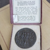 British propaganda medal in box Lusitania