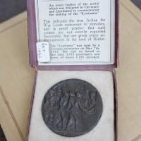 British propaganda medal in box Lusitania