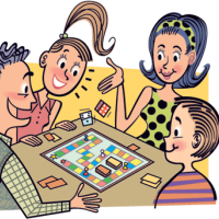 Retro cartoon of family playing a board game