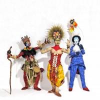 Image: Sharon Mitchell, from left to right, Rafiki , Simba , Zazu, 2018, mixed media