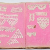 Pages from lace sample book, North Otago Museum 2012/95