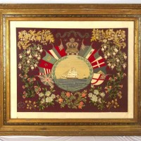 Crewel Embroidery of a ship at sea surrounded by flags and flowers. WMA 98/398