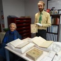 Heather Sutton and Waitaki District Archive curator of archives Chris Meech with diaries from Waitangi Station, which date from the 1880s to the 1970s. The diaries have been donated to the archive by Mrs Sutton. Photo by Daniel Birchfield. Courtesy of the Otago Daily Times